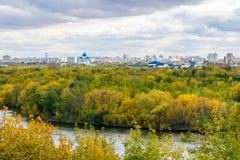 Beeld van de herfst Moskou van het observatiebureau in Kolomenskoye Stock Fotografie