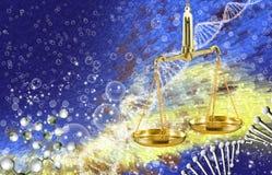 beeld van de ketting van DNA en libra op multicolored achtergrond Stock Foto's
