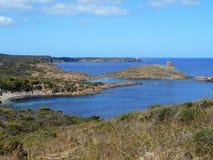 Beeld van de Kust van het eiland van Baeutiful Menorca in Spanje Een natuurlijk paradijs stock afbeelding