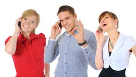 Beeld van de mens en vrouw met celtelefoons Stock Afbeeldingen