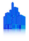 Beeld van de moderne bouw, Stedelijke cityscape, Stadslichten, metropool Vector illustratie die op witte achtergrond wordt geïsol royalty-vrije illustratie