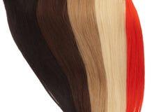 Beeld van de remy uitbreidingen van het vrouwen` s haar in verschillende kleuren royalty-vrije stock afbeeldingen