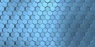 Beeld van decoratieve die metaalhulp door de unie van blauwachtige zeshoeken wordt gevormd royalty-vrije illustratie