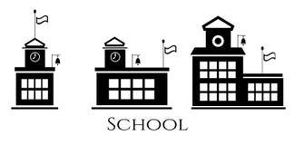Beeld van drie schoolgebouwen Stock Foto