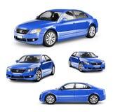 Beeld van een Blauwe Auto op Verschillende Posities royalty-vrije illustratie