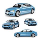 Beeld van een Blauwe Auto op Verschillende Posities vector illustratie