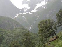 Beeld van een cabine, met een beboste en sneeuwberg op de achtergrond Stock Foto