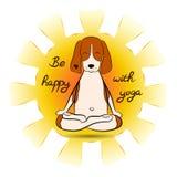 Beeld van een de brakzitting van de beeldverhaal grappige hond op lotusbloempositie van yoga met zon Brakembleem vector illustratie