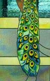 Beeld van een gebrandschilderd glasvenster Stock Foto's