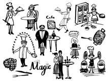 Beeld van een grote reeks geïsoleerde elementen in de stijl van een uitstekende grappige illustratie, chef-koks royalty-vrije stock afbeeldingen
