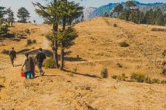 Beeld van een Indische familie die een wandeling nemen bij een heuveltop onder bomen royalty-vrije stock afbeelding
