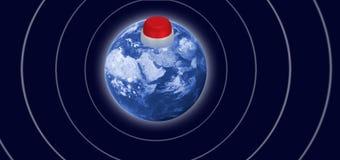 beeld van een kernknoop op de planeet als symbool van het gevaar van kernoorlogclose-up royalty-vrije stock foto's