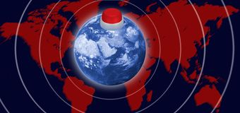 beeld van een kernknoop op de planeet als symbool van het gevaar van kernoorlogclose-up royalty-vrije stock afbeelding