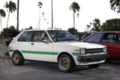 Beeld van een klassieke auto van Toyota bij een show Stock Foto's