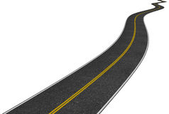 Beeld van een lange windende weg op wit Stock Afbeelding