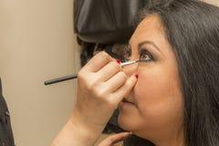 Beeld van een make-up één oog in een professionele make-up royalty-vrije stock foto