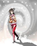 Beeld van een meisje in sneeuwstorm Royalty-vrije Stock Foto's