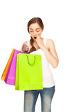 Beeld van een mooie vrouw met kleurrijke het winkelen zakken Stock Afbeelding