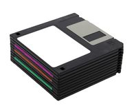 De stapel van 3.5 verplaatst floppy disks centimeter voor centimeter Royalty-vrije Stock Foto