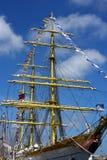 Beeld van een varend schip met vlaggen Royalty-vrije Stock Foto's