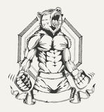 Beeld van een vechter met het menselijke lichaam en boos vector illustratie