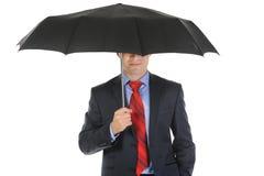 Beeld van een zakenman met paraplu Royalty-vrije Stock Afbeeldingen