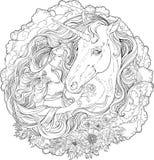 Beeld van eenhoorn en meisje in wolken Royalty-vrije Stock Afbeelding