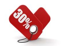 Beeld van Etiket 30% Stock Foto