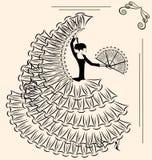 Beeld van flamenco met ventilator Royalty-vrije Stock Foto's