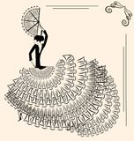 Beeld van flamencodanser met ventilator Stock Afbeelding