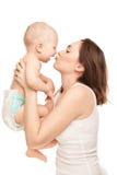 Beeld van gelukkige moeder met aanbiddelijke baby Royalty-vrije Stock Foto's