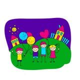 Beeld van gelukkige schooljonge geitjes Stock Afbeeldingen
