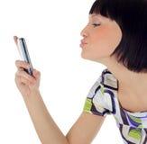 Beeld van gelukkige vrouw met celtelefoon Royalty-vrije Stock Afbeelding