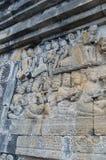 Beeld van Gesneden Steenmuur, Borobudur-Tempel, Java, Indonesië Stock Afbeeldingen