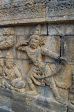 Beeld van Gesneden Steenmuur, Borobudur-Tempel, Java, Indonesië stock fotografie