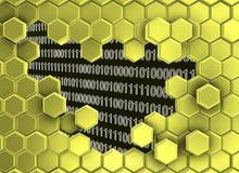 Beeld van gouden die zeshoekenmuur door de digitale era wordt gebroken stock illustratie