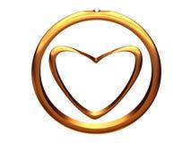 Beeld van gouden hart binnen van een gouden trouwring. stock illustratie