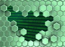 Beeld van groenachtige die zeshoekenmuur door de digitale era wordt gebroken royalty-vrije illustratie