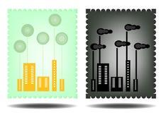 Beeld van groene en zwarte stad Royalty-vrije Stock Afbeelding