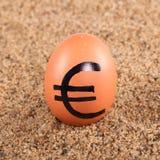 Beeld van groot wit ei met euro teken op een zand Royalty-vrije Stock Fotografie