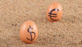 Beeld van grote witte eieren met dollarand euro tekens op een zand Royalty-vrije Stock Foto's