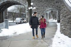 Beeld van hartelijk paar in park op de winter royalty-vrije stock fotografie