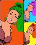 Beeld van jong meisje in stijl pop-kunst Stock Foto's