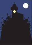 Beeld van kerk en begraafplaats bij nacht Stock Foto's