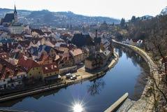 Beeld van kleine oude Tsjechische stad Krumlov Stock Foto's