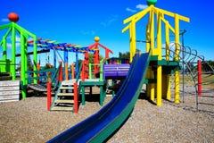 Beeld van kleurrijke speelplaats met materiaal, Levin, Nieuw Zeeland stock afbeelding