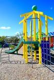 Beeld van kleurrijke speelplaats met materiaal, Levin, Nieuw Zeeland stock foto's