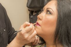 Beeld van make-uplippen in een professionele make-up stock fotografie