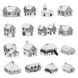 Beeld van middeleeuwse huizen Stock Fotografie