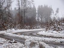 Beeld van mistige en sneeuw de winterweg royalty-vrije stock afbeeldingen